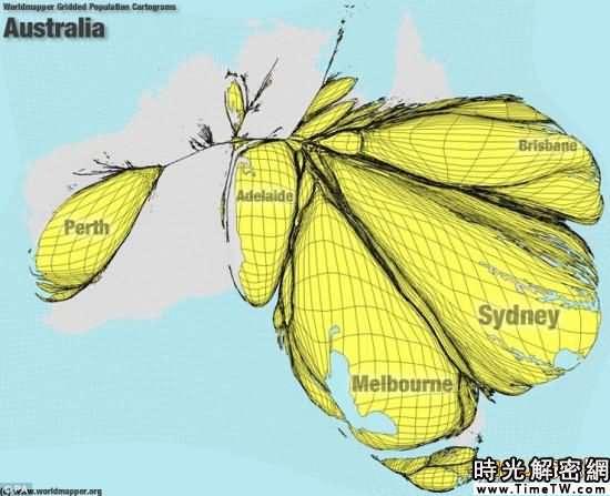 全新的世界地圖-澳洲