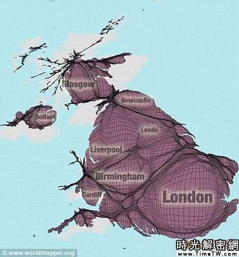 全新的世界地圖-英國