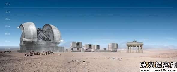 體積對比:歐洲特大天文望遠鏡比德國的勃蘭登堡門大多了。