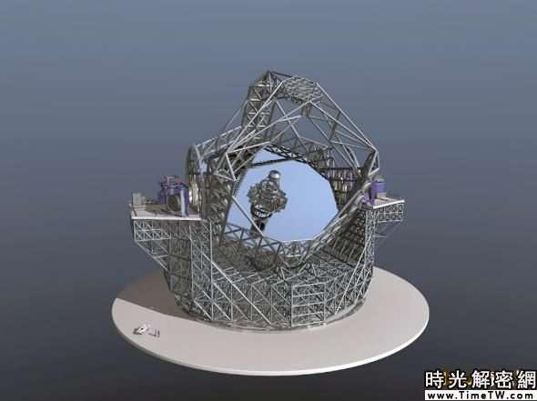 空中看E-ELT望遠鏡:其主鏡的直徑達42米,重5.5噸。