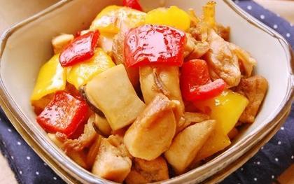 彩椒杏鮑菇炒雞丁